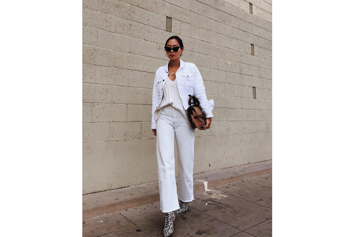 White Jeans Snakeskin Boots
