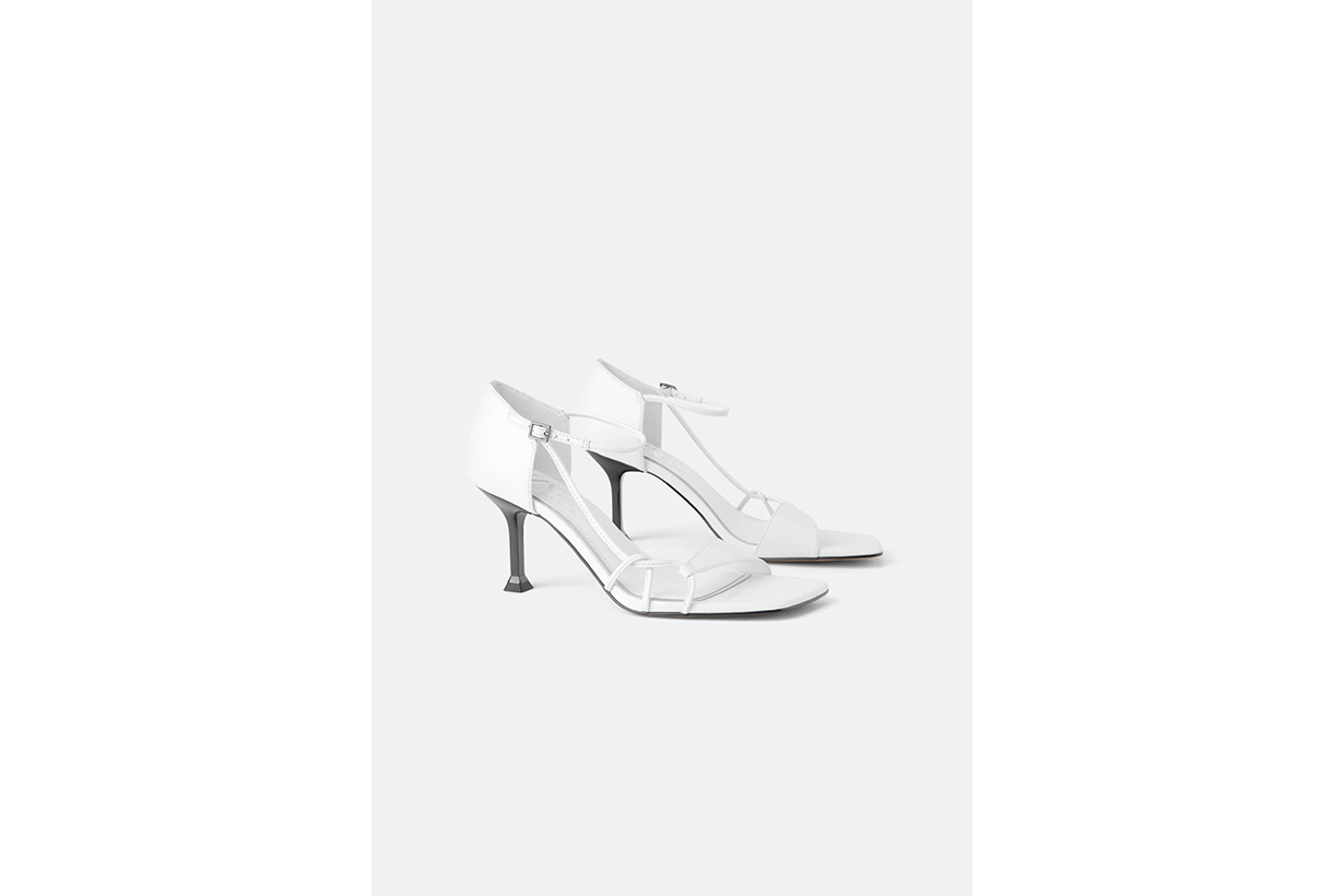 Zara Leather Heeled Sandals With Heel Detail