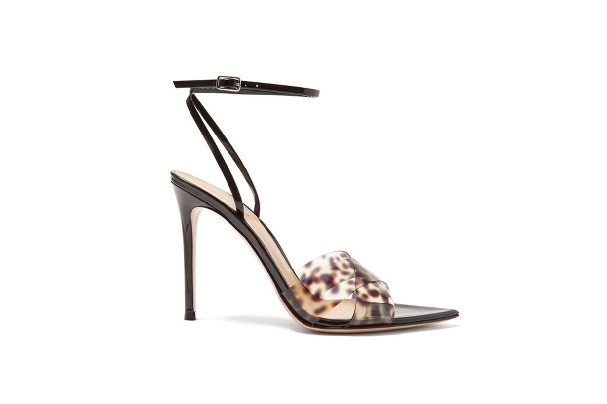 Gianvito Rossi Leopard-Print Strap 105 Patent-Leather Sandals