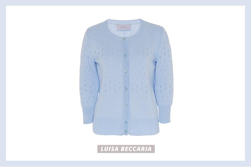 Luisa Beccaria Eyelet Cotton Cardigan baby blue