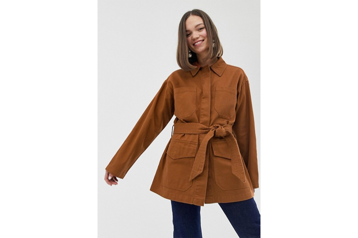 Monki Denim Belted Jacket with Oversized Pockets in Rust