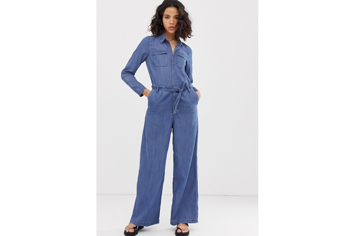 Only Denim Button Through Wide Leg Jumpsuit