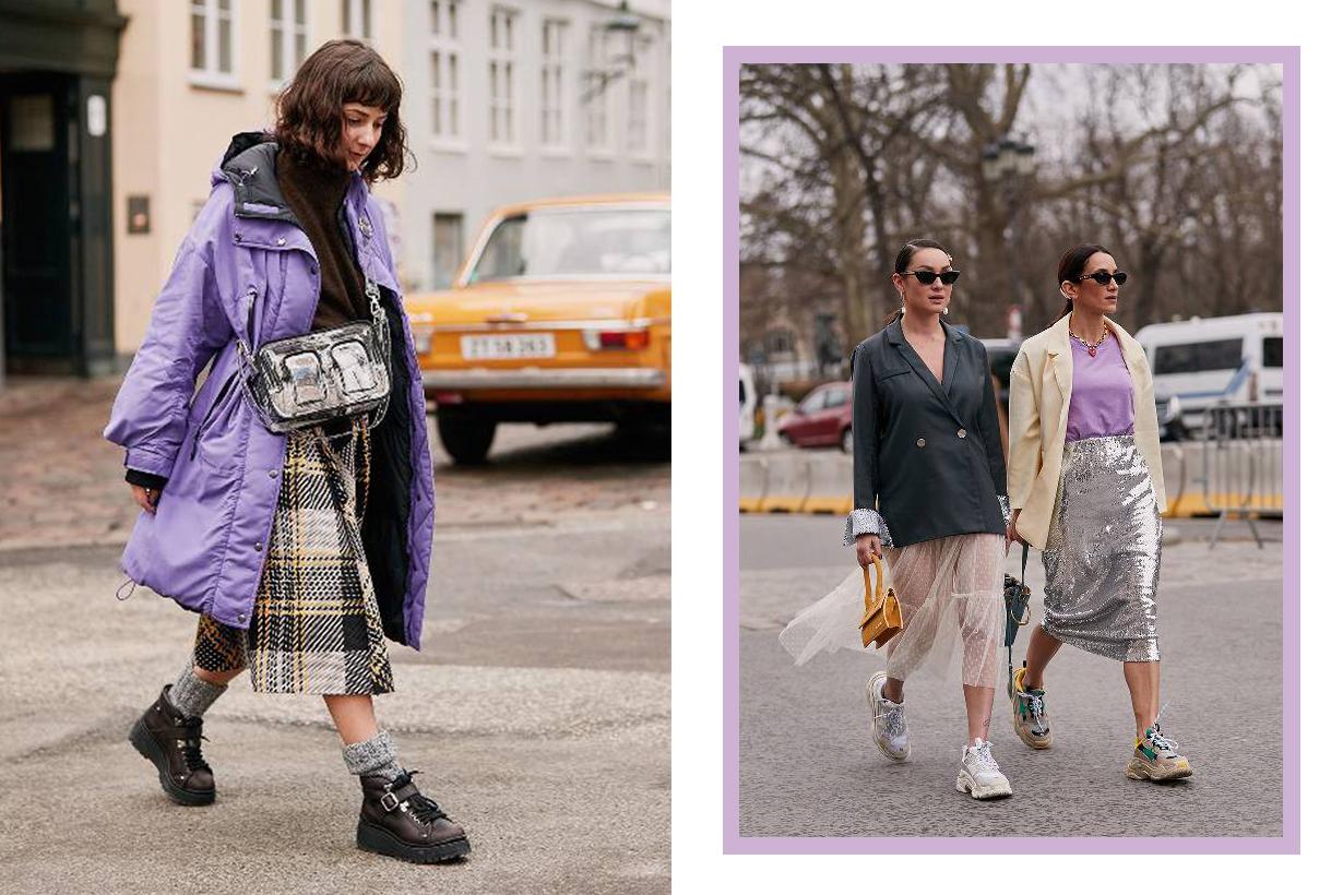 Purple Coat Fashion Girls Influencers Street Style
