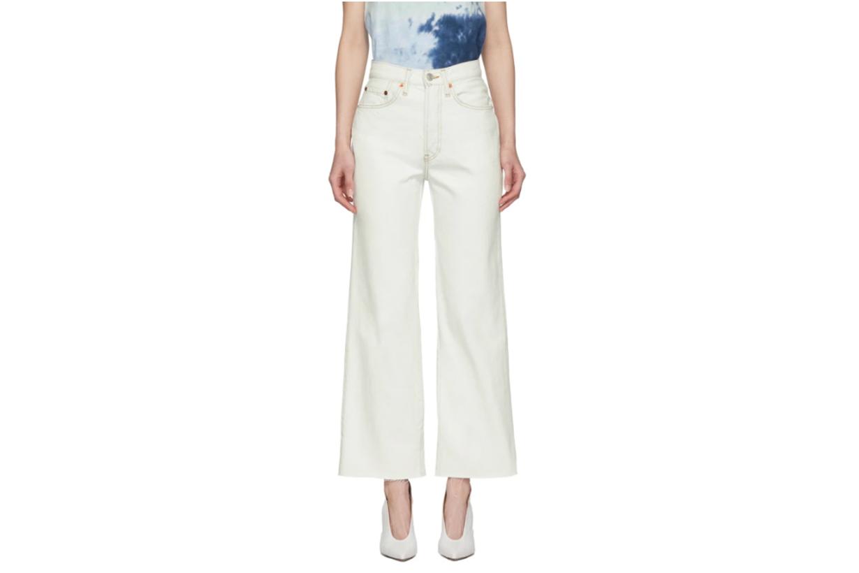 Re/Done White Wide Leg Crop Jeans