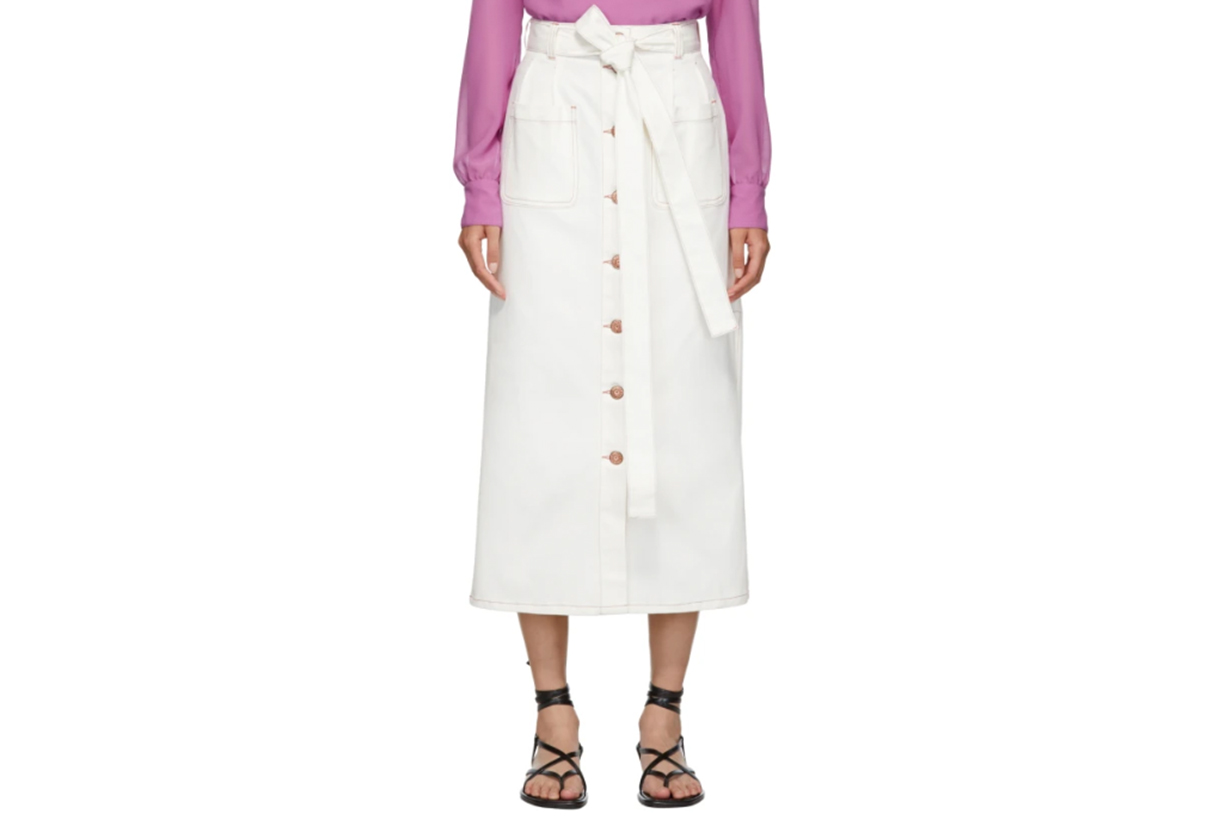 See by Chloé White Denim Fluid Skirt