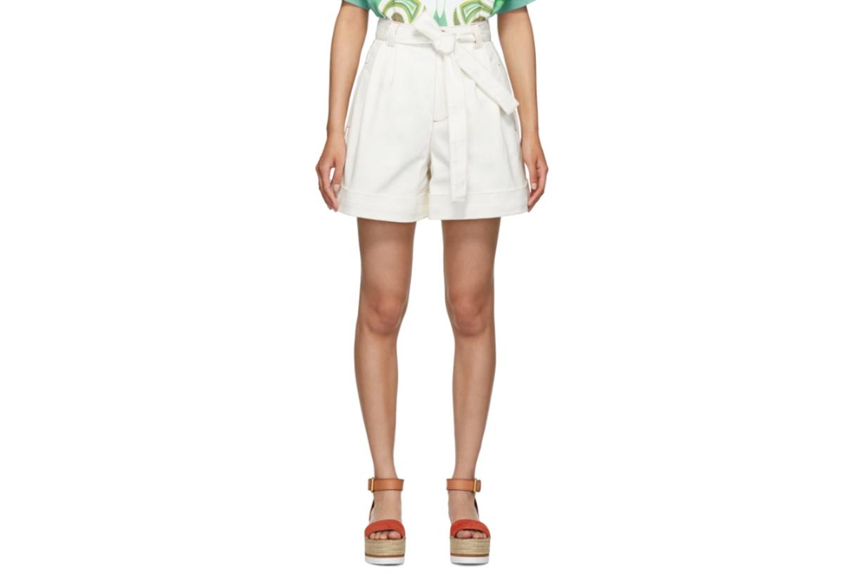 See-by-Chloé-White-Denim-Tie-Shorts