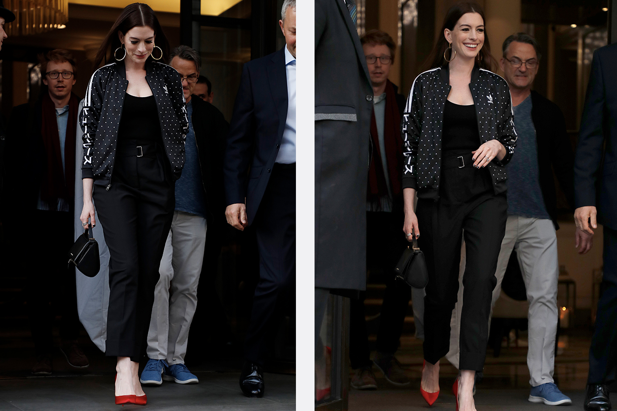 Anne Hathaway exit from her hotel in London