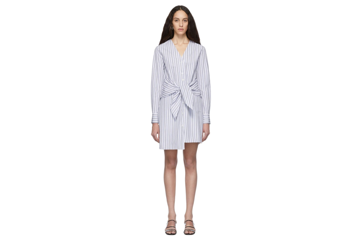 Tibi Blue & White Stripe Liam V-Neck Shirt Dress
