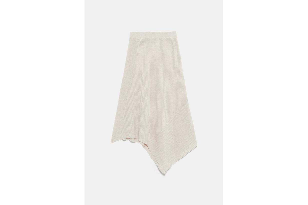Asymmetric Knit Skirt