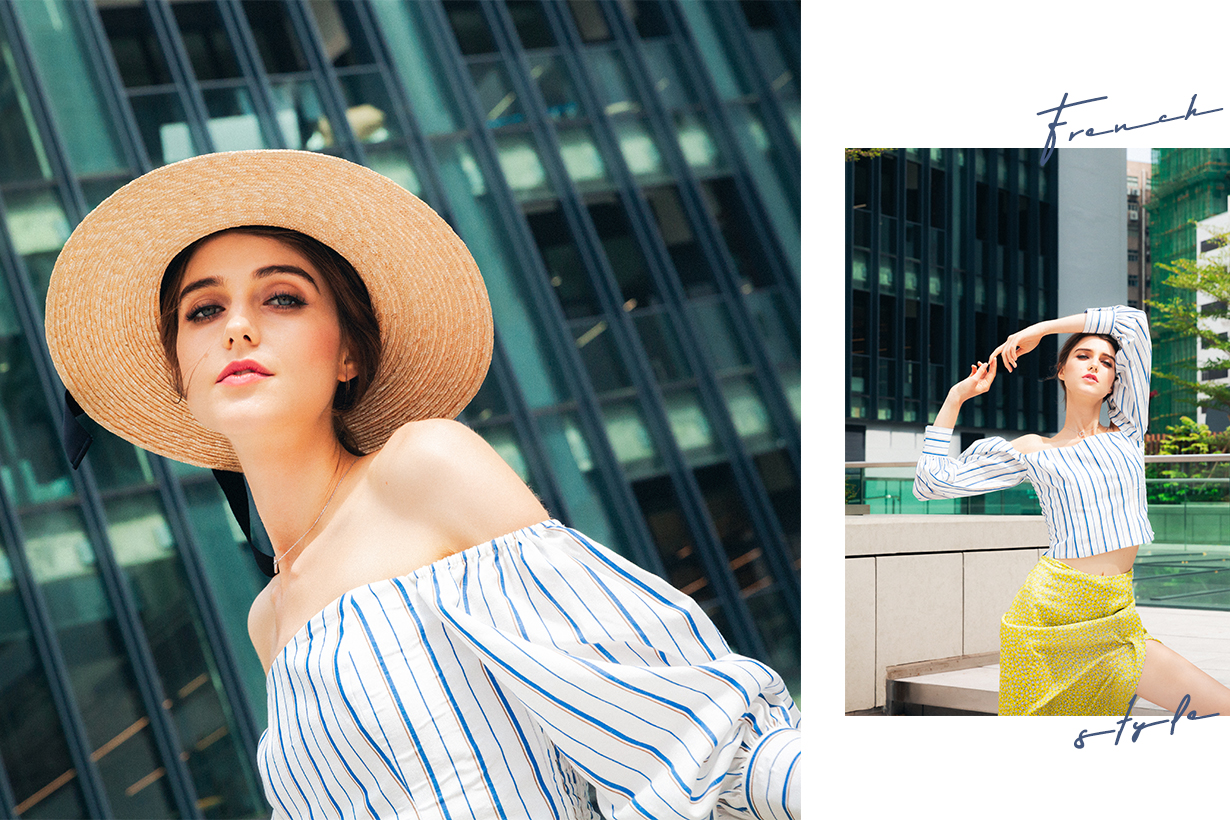 french GIRL SUMMER STYLDE GUIDE off Shoulder top straw bag