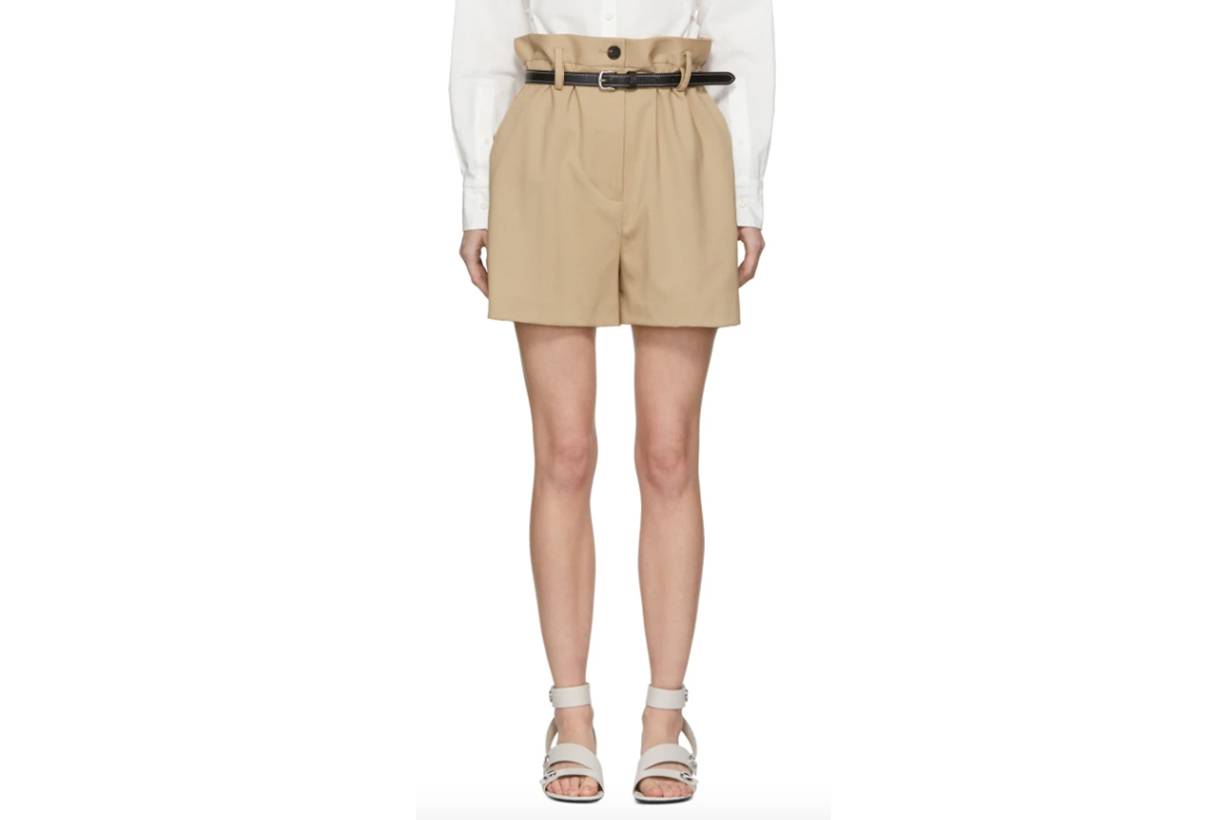 3.1 Phillip Lim Beige Wool Paper Bag Shorts