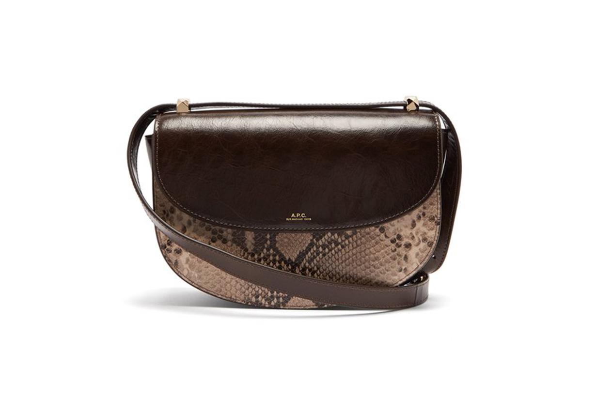 A.P.C. Genève Snake-Print Leather Cross-Body Bag