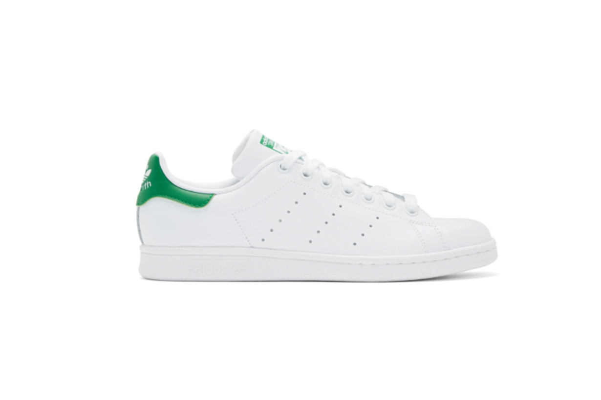 adidas Originals White & Green Stan Smith Sneakers