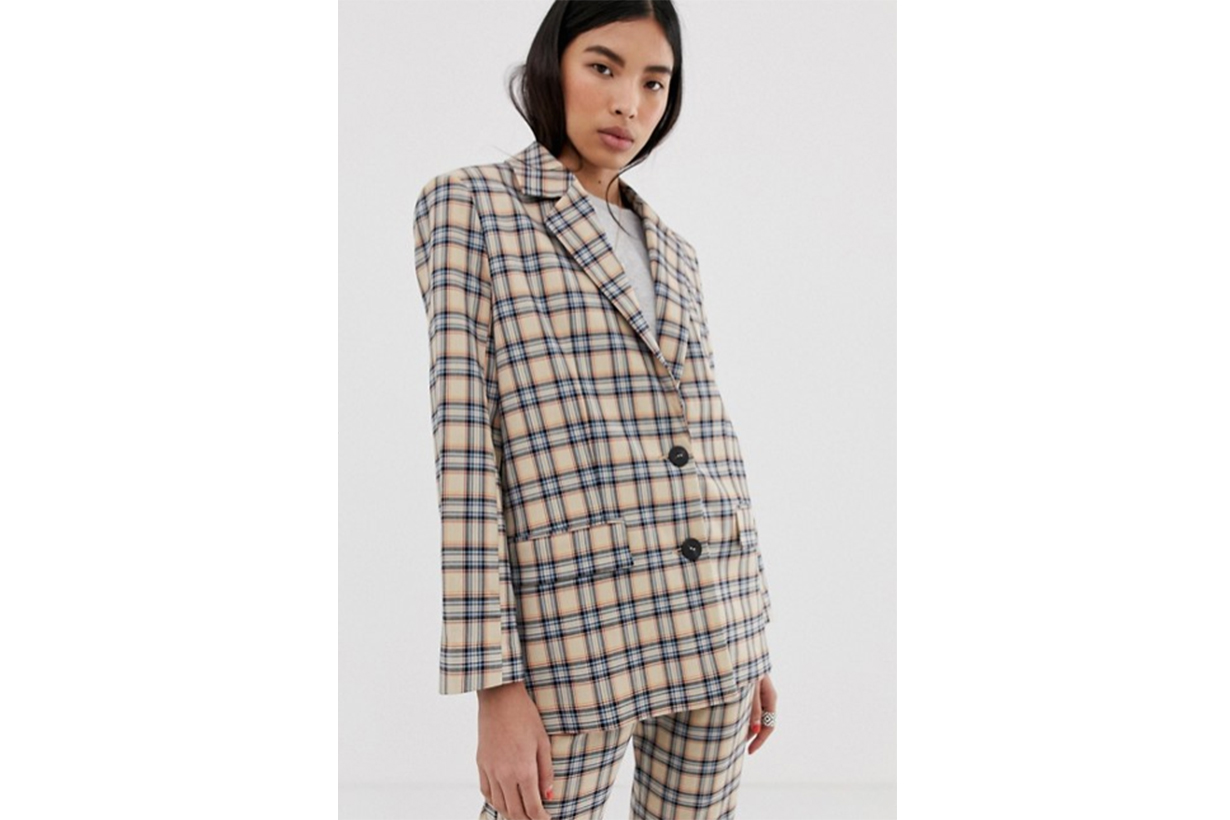 ASOS DESIGN Dad Suit Blazer in Light Based Check
