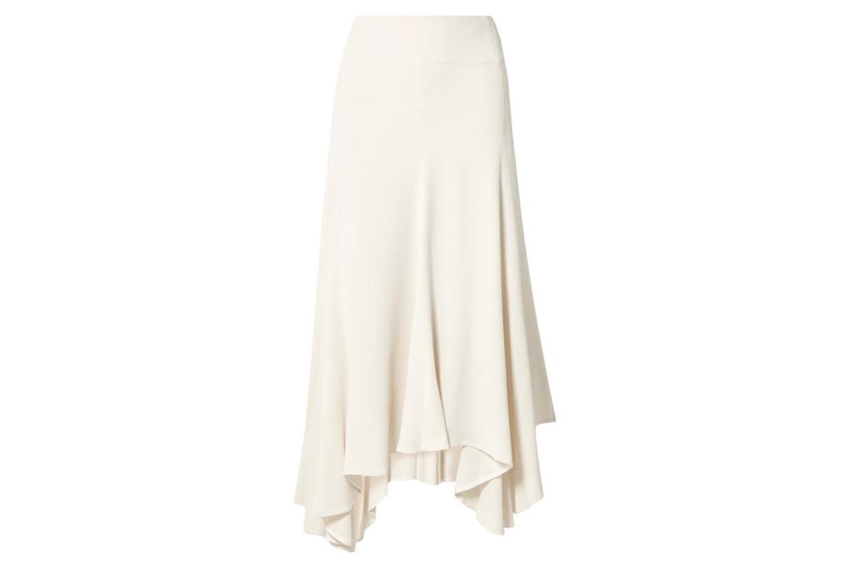 Asymmetric Pleated Crepe Midi Skirt