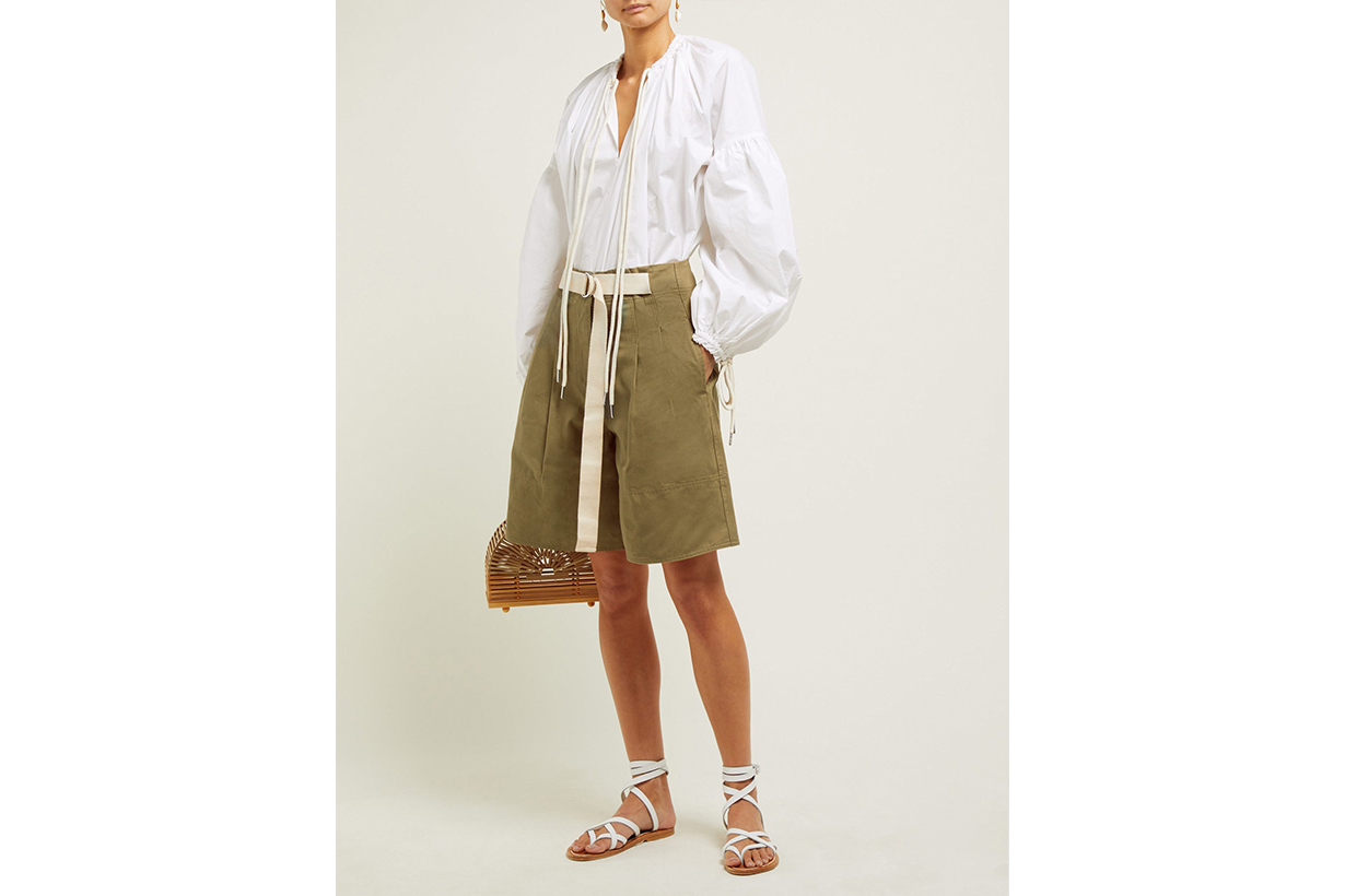 Bonnie High-Rise Cotton-Twill Shorts