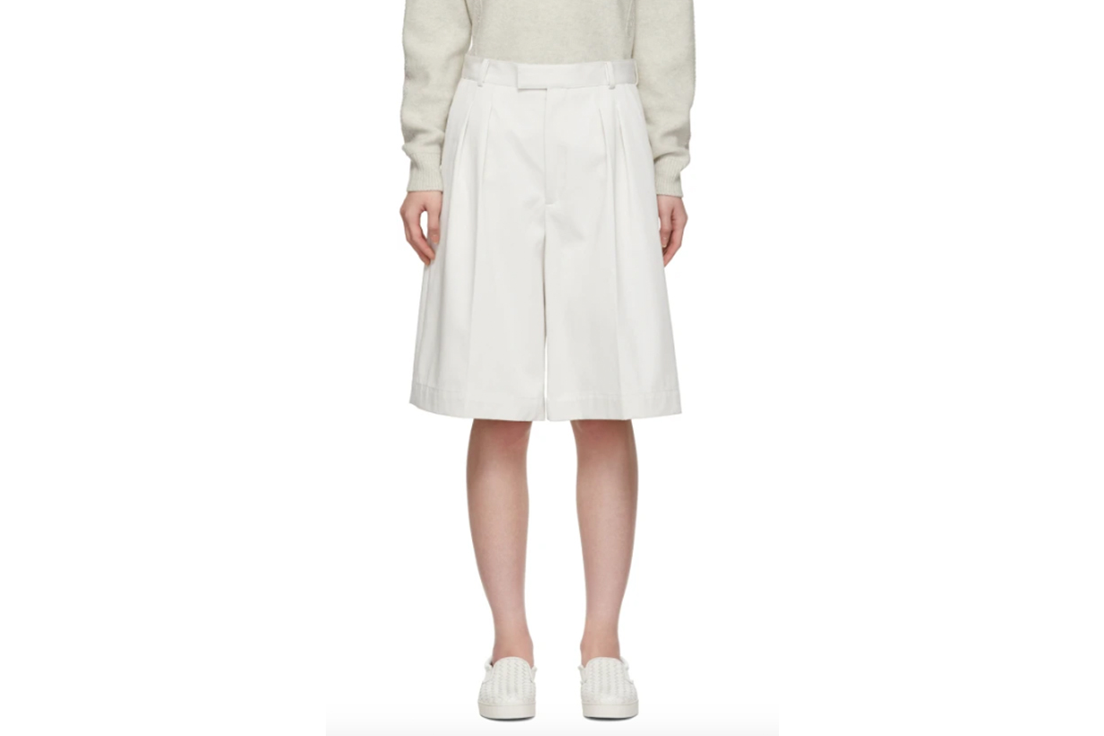 Bottega Veneta White Oversized Drill Shorts