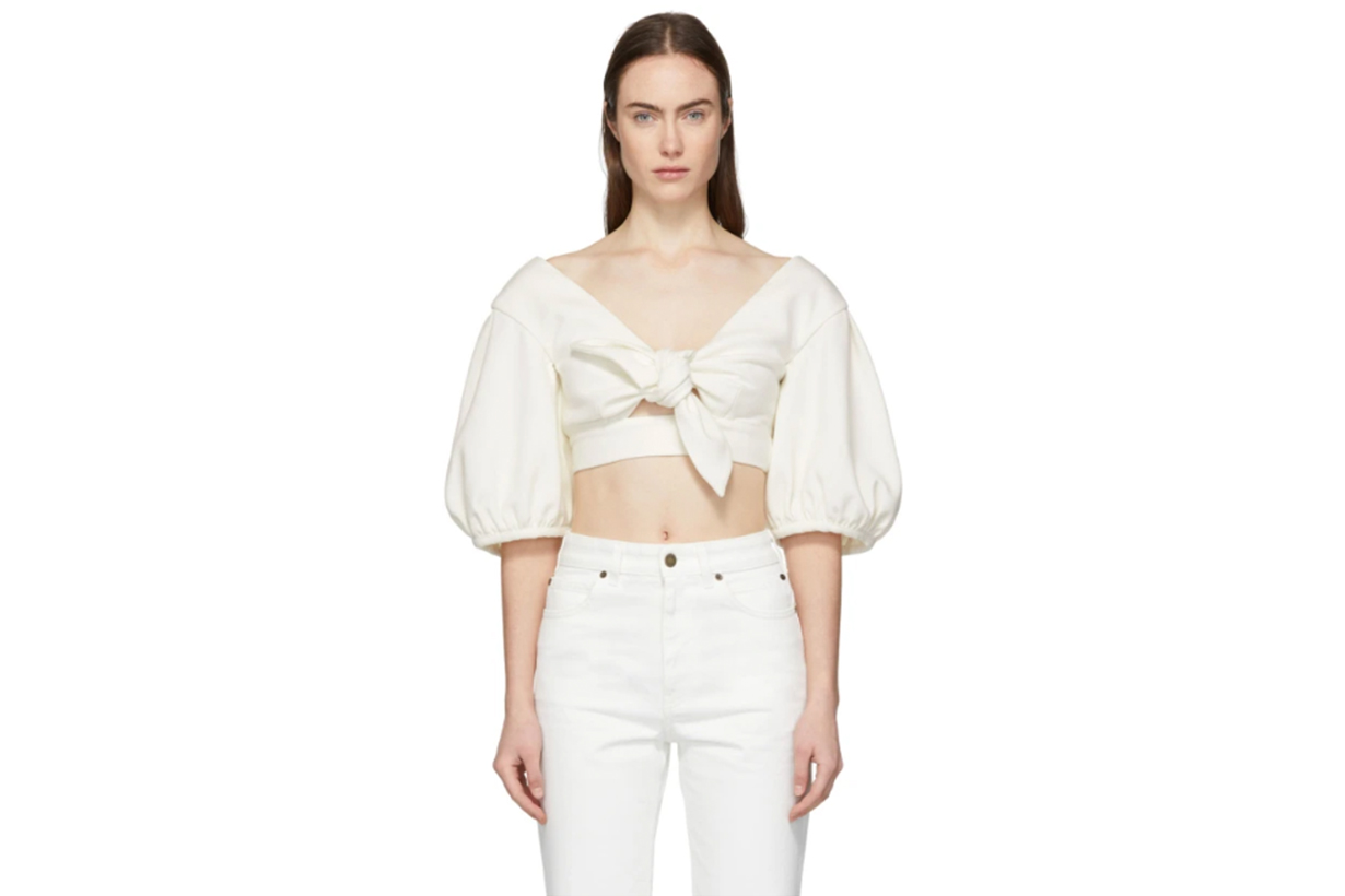 Edit White Cropped Bow Front Blouse