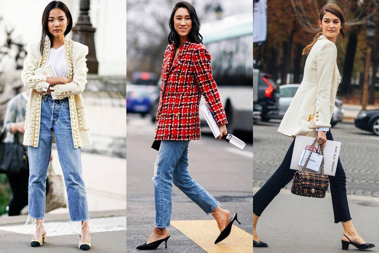 Tweed Jacket Jeans Heels Street Style
