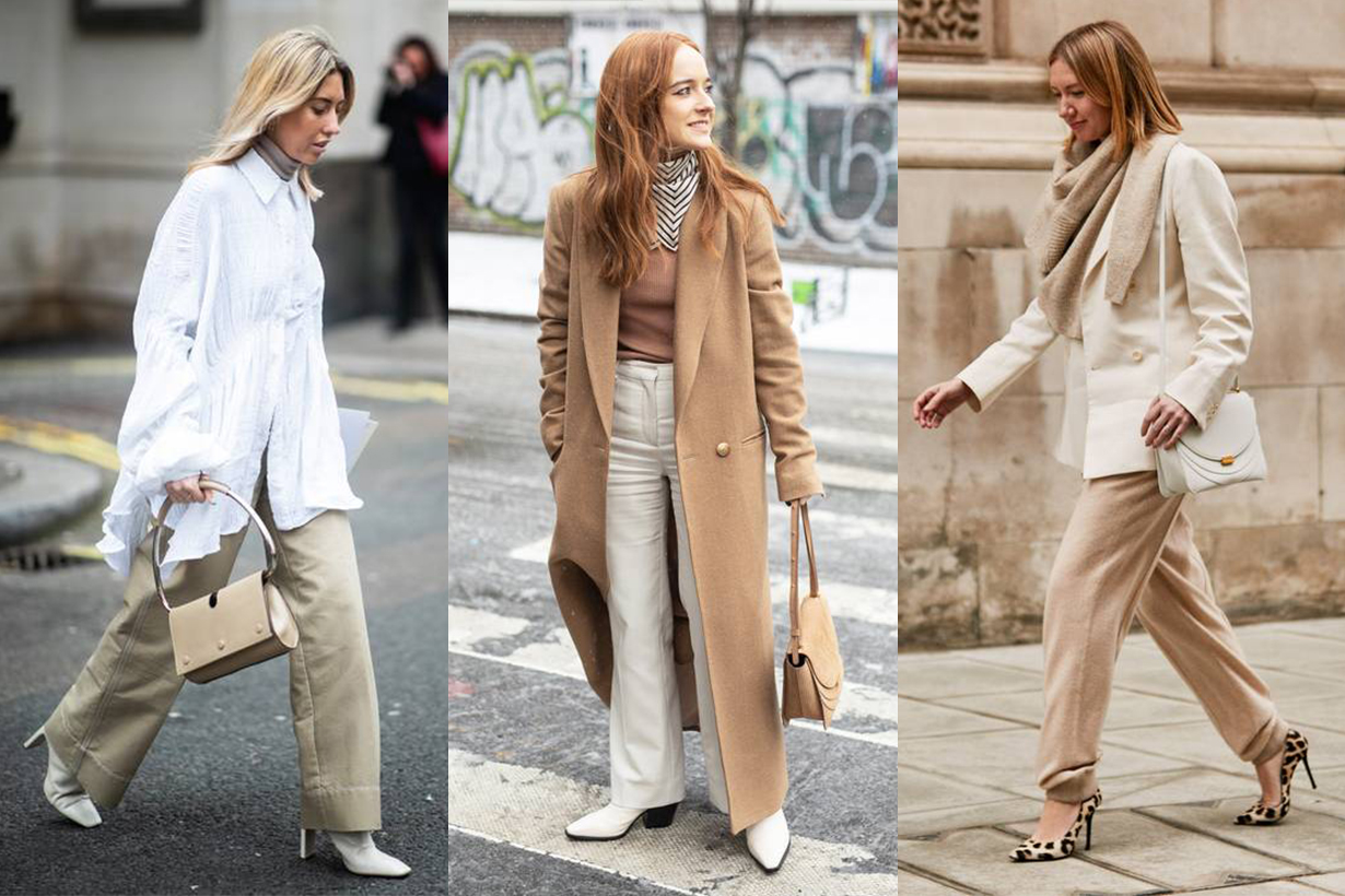 Beige and White Street Style