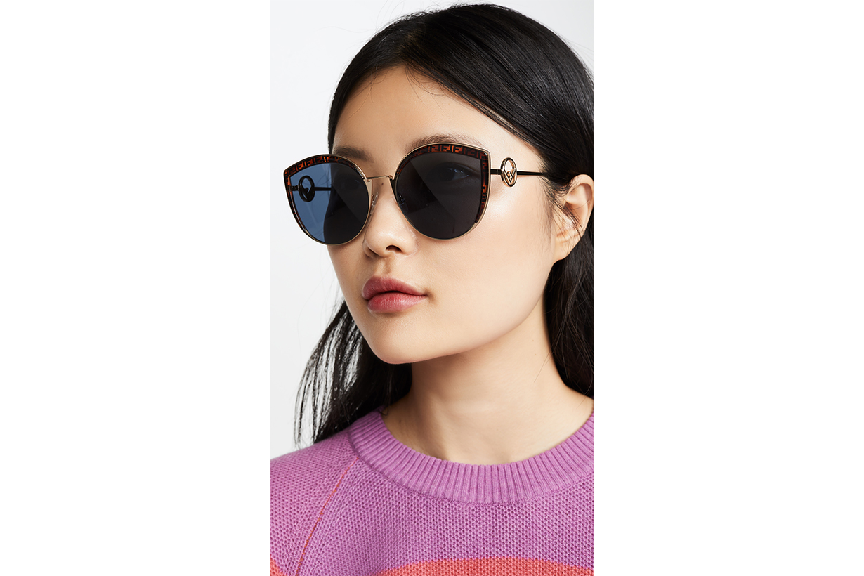 Fendi Logo Trim Cat Eye Sunglasses