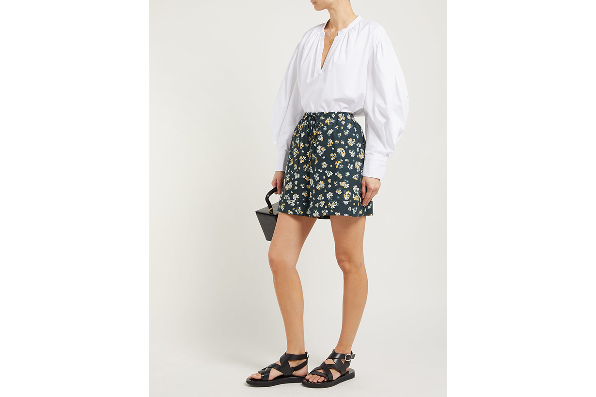 Floral-Print Wide-Leg Cotton Shorts