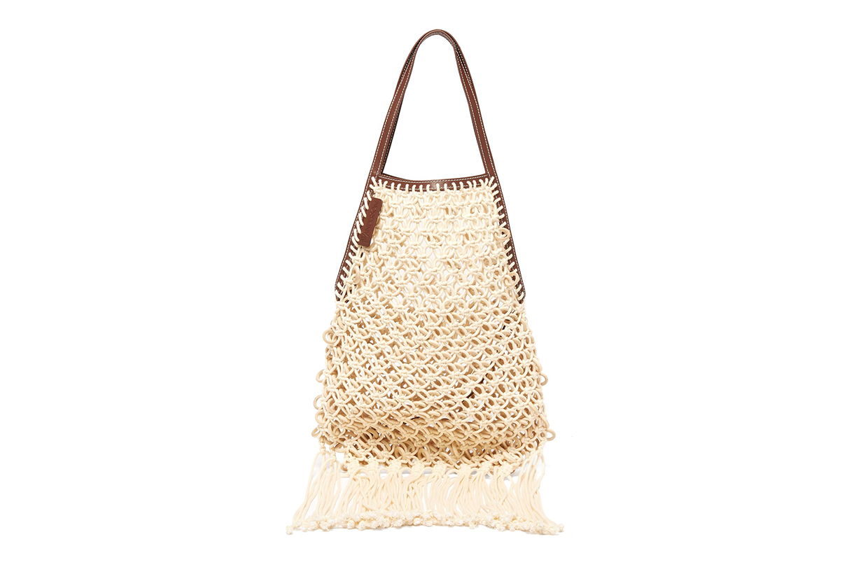 JW Anderson Leather-Trimmed Macramé Tote