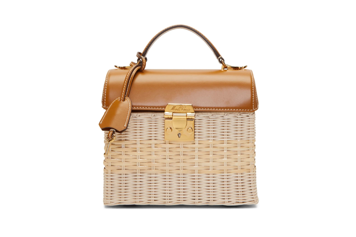 Mark Cross Brown & Beige Rattan Sara Bag