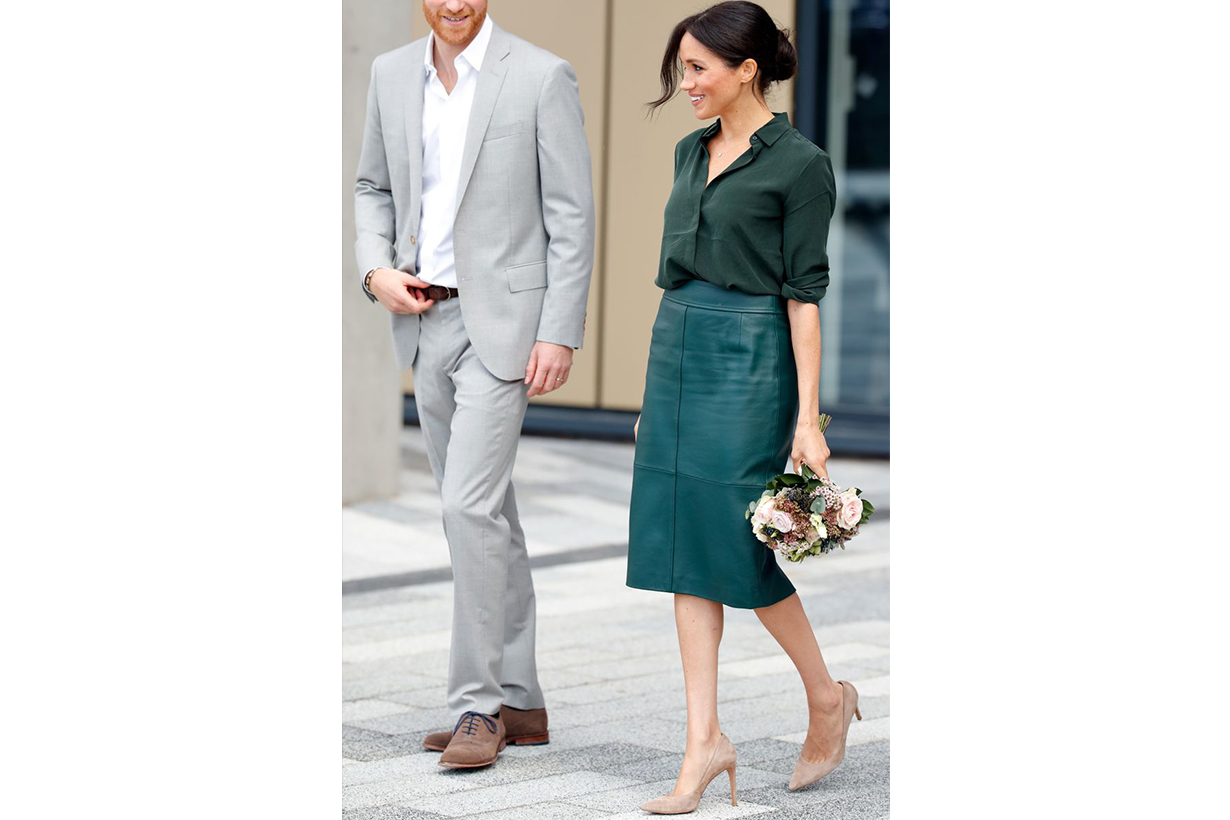 Meghan Markle Pencil Skirt Nude Pumps