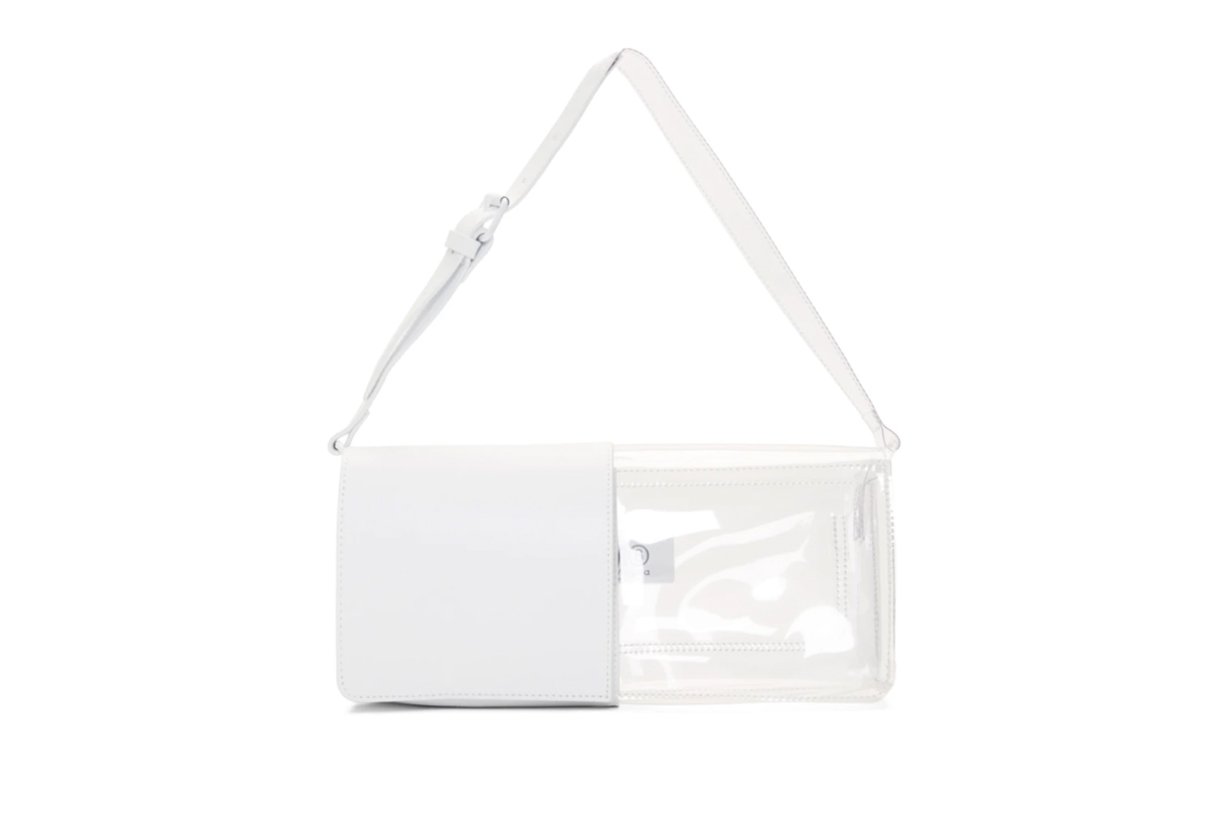 MM6 Maison Margiela White Half-And-Half Flap Bag
