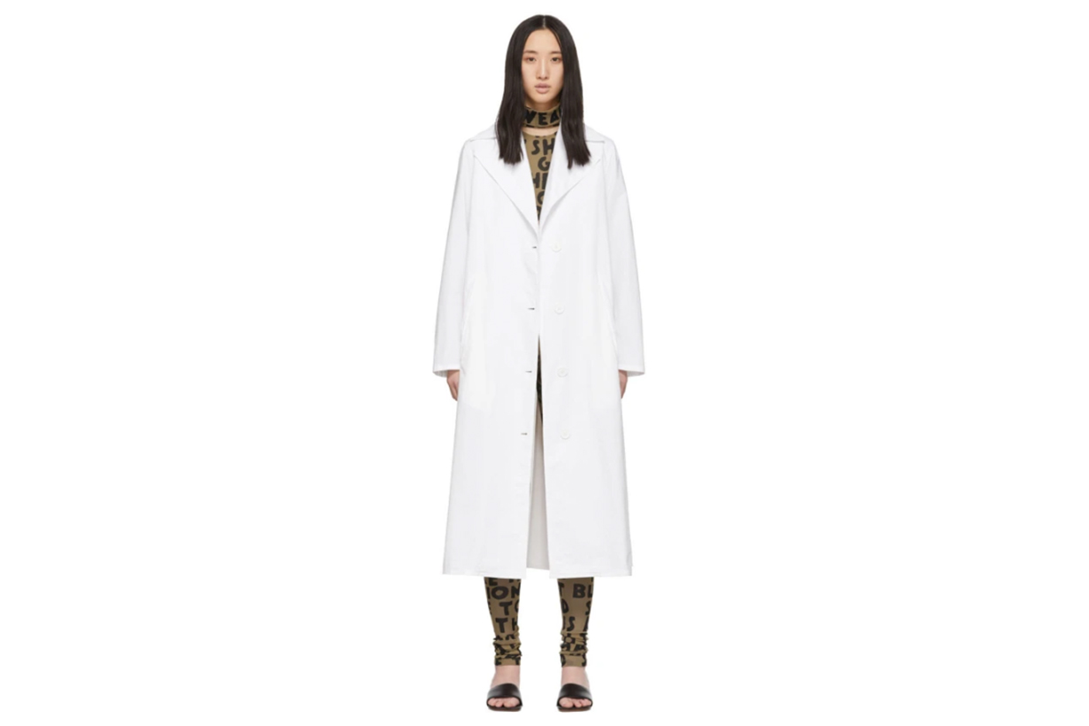 MM6 Maison Margiela White Wrap Trench Coat
