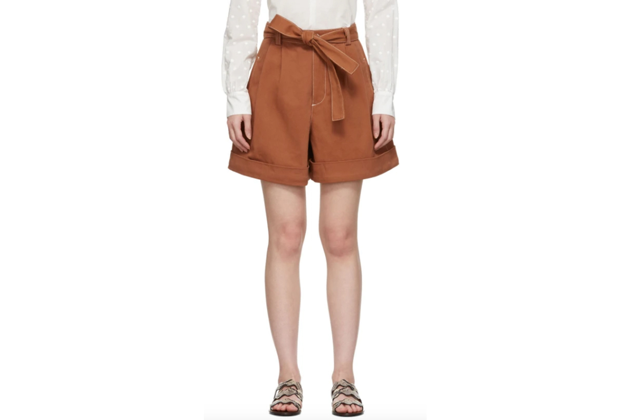 See by Chloé Orange Denim Tie Shorts