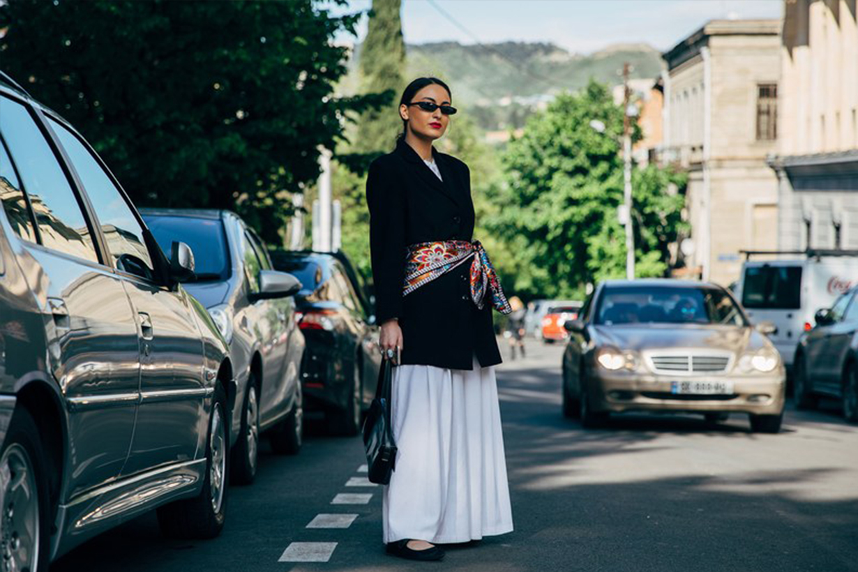 Blazer Silk Scarf Belt Street Style 2019