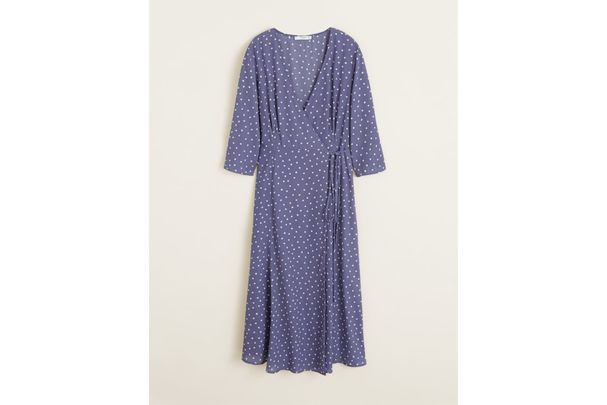 Mango Wrap Polka-Dot Dress