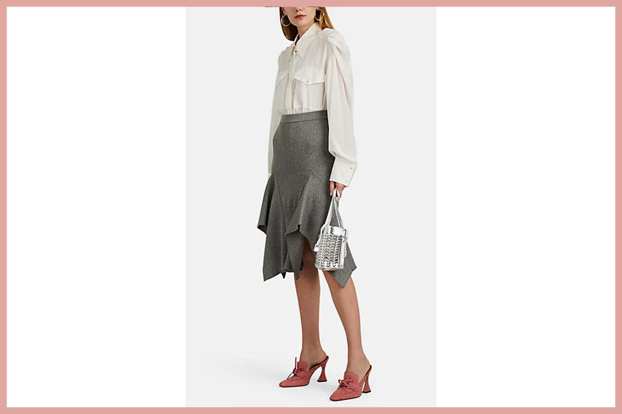 AKIRA NAKA Handkerchief-Hem Rib-Knit Skirt
