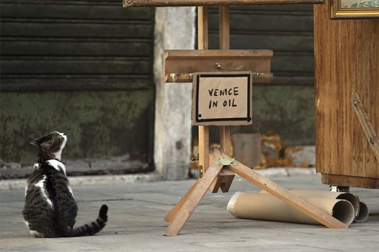 Banksy Venice in oil art
