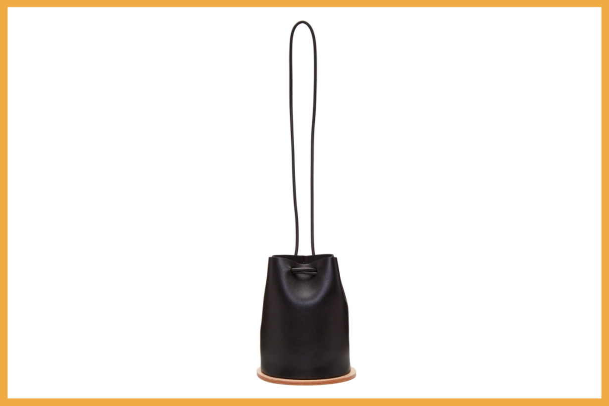 Building Block Black Disc Bucket Bag