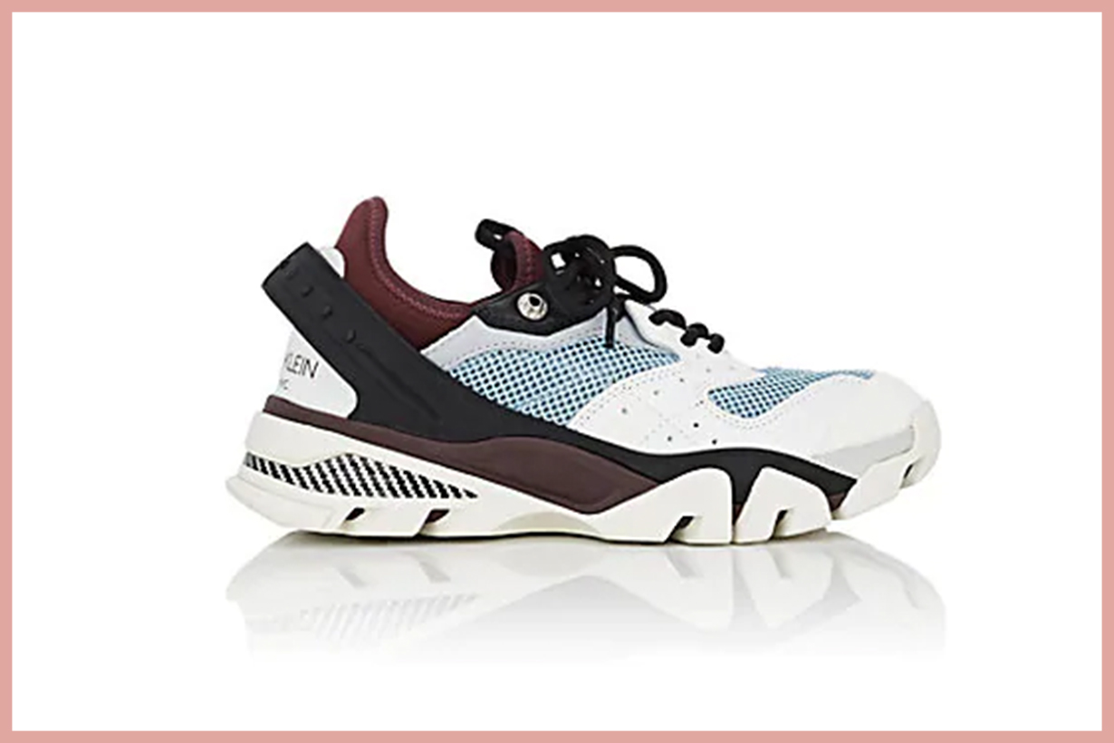 CALVIN KLEIN 205W39NYC Women's Rubber-Strap Leather & Mesh Sneakers