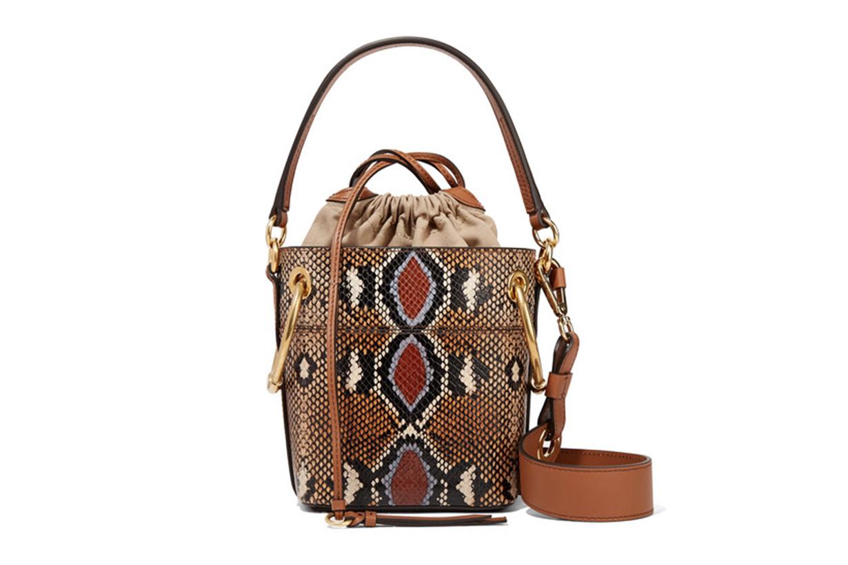 CHLOÉ Roy Mini Snake-Effect Leather Bucket Bag