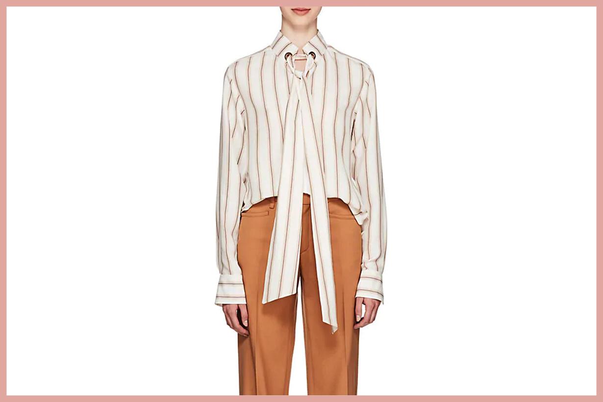 CHLOÉ Striped Silk Tieneck Blouse