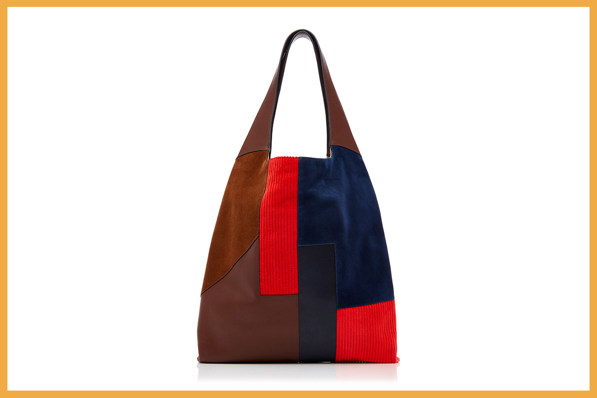 Hayward Patchwork-Effect Suede, Corduroy And Leather Tote