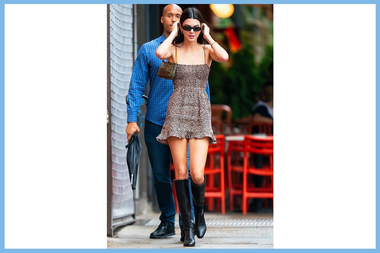 Kendall Jenner Reformation leopard print mini dress street style street snap trending dress