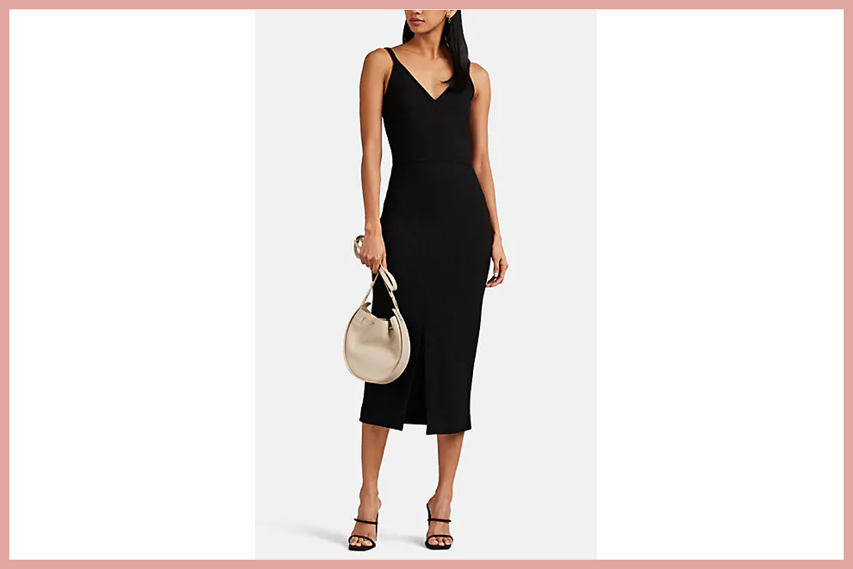LISA PERRY Front-Slit Wool Crepe Dress