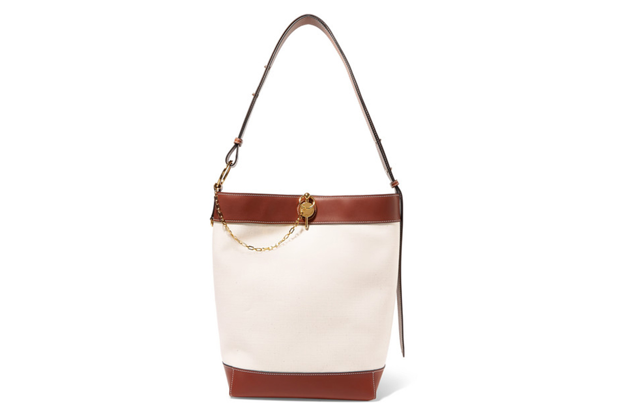 Lock Leather-Trimmed Canvas Tote