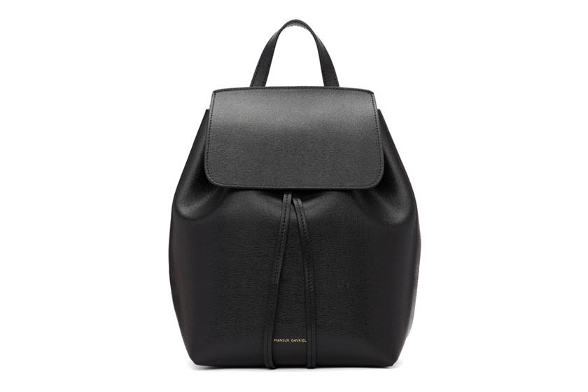 Mansur Gavriel Black Saffiano Mini Backpack