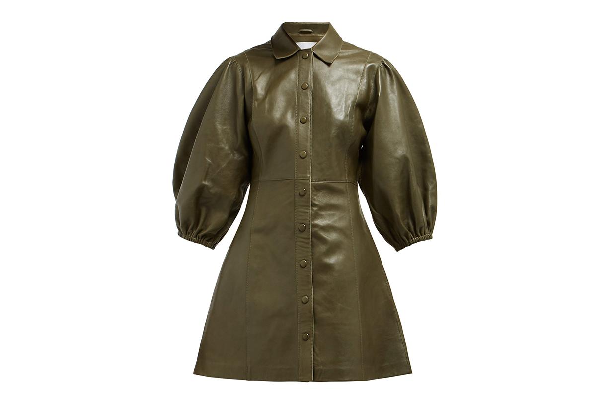 Ganni Mernati Puffed-Sleeve Leather Dress