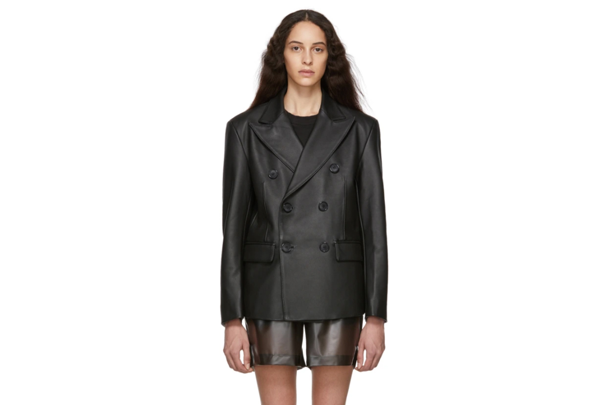 MISBHV Black Leather Double-Breasted Blazer