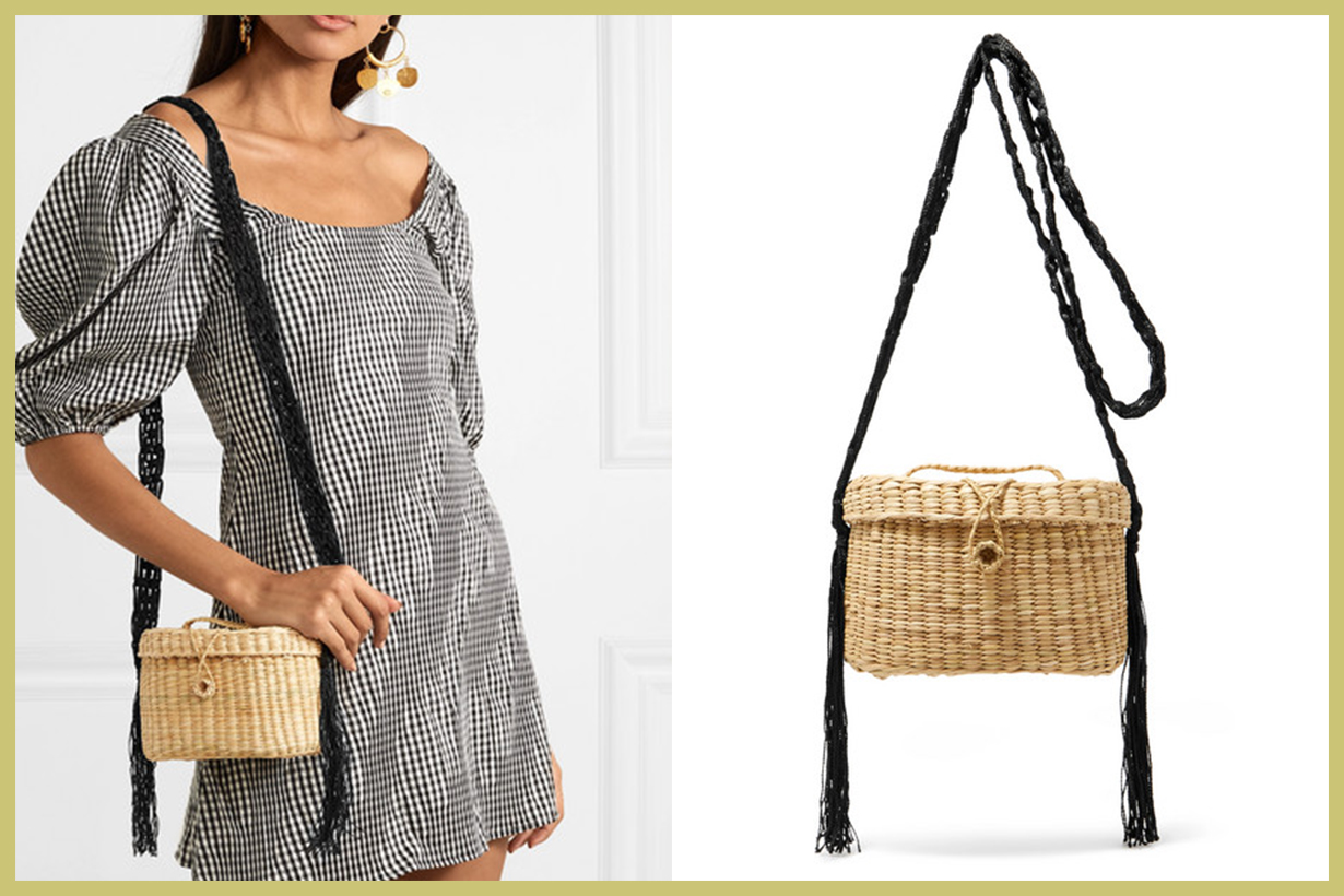 NANNACAY Kiki Woven Raffia and Macramé Shoulder Bag