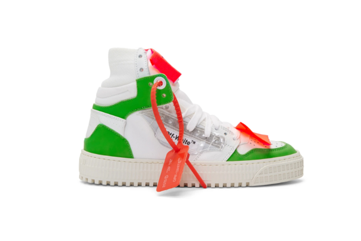 Off-White White & Green 3.0 Off-Court Sneakers