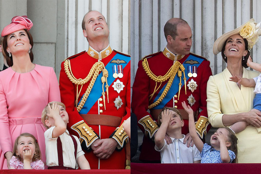 prince george bored pose and prince louis prince harry same outfit trooping the colour 2019